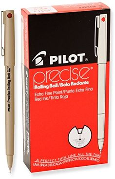 Pilot Precise Rolling Ball Pen, Extra Fine Point, Red Ink, Dozen Box (35313) Pilot http://www.amazon.com/dp/B007XZVSY2/ref=cm_sw_r_pi_dp_5d5Yvb1SXZZ5C