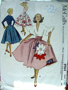 Vintage 1950s Cocktail or Evening Petticoat, Skirt & Cummerbund Sewing Pattern…