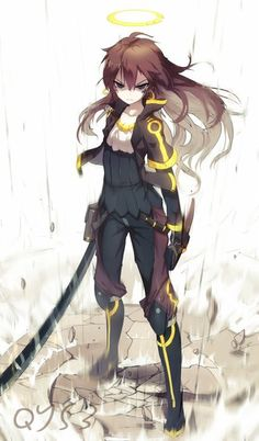 Anime picture 823x1400 with  original tian ling qian ye bai yemeng long hair single tall image looking at viewer blue eyes breasts brown hair white fringe standing ahoge collarbone eyebrows facial mark angry serious broken