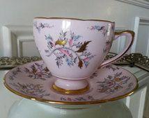 Rare antique Royal Grafton Flamingo pattern pink teacup and saucer tea set