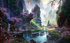 landscape painting of mountain, artwork, digital art, water, waterfall HD wallpaper Painting Wallpaper, Landscape Wallpaper, Nature Wallpaper, Landscape Paintings, Hd Wallpaper, Landscapes, Waterfall Wallpaper, Asian Architecture, Spring