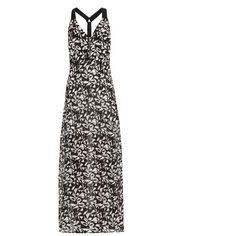 A.L.C. Patti fan-print maxi dress ($270) ❤ liked on Polyvore featuring dresses, black white, racerback maxi dress, white and black dress, black white maxi dress, black and white maxi dress and a l c dress