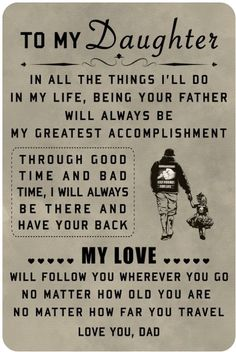 family Poster - to my daughter family Poster - to my daughter family Poster - to my daughter<br> Material : High Quality Canvas Ink : Waterproof Ink Technics : Spray Painting Daughters Day Quotes, Love My Wife Quotes, Daddy Daughter Quotes, To My Daughter, Missing My Daughter Quotes, To My Wife, Beautiful Daughter Quotes, My Children Quotes, Quotes For Kids