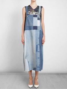 Ashish Oversized Patchwork Denim Dress in Blue (denim) | Lyst: