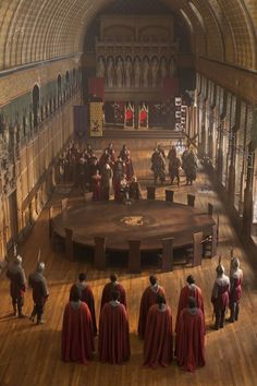 Arthur and the Knights of the Round Table. Every man shall sit at equal height, at a round table to ensure equality.