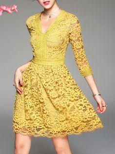 Shop Midi Dresses - Yellow Elegant Guipure Lace Midi Dress online. Discover unique designers fashion at StyleWe.com.
