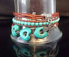 Turquoise gemstone,turquoise wrap,turquoise bracelet,triple row, leather wrap,wrap bracelet,leather bracelet,genuine leather,western style Check out this item in my Etsy shop https://www.etsy.com/listing/266101152/turquoise-gemstoneturquoise