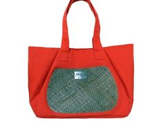 Orange Tote with Front Pocket