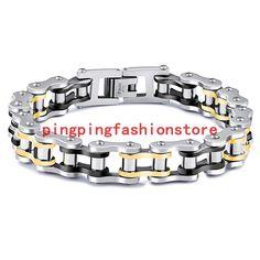 """Charming Stainless Steel Silver Gold Black Motor Biker Chain Mens Bracelet 8.66"""""""