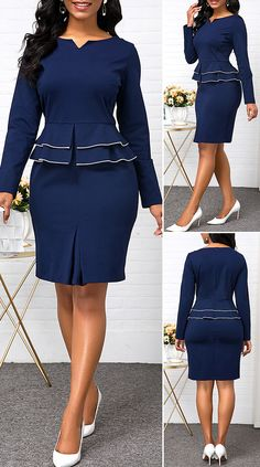 Split Neck Long Sleeve Peplum Waist Dress - New Site Short African Dresses, Latest African Fashion Dresses, Women's Fashion Dresses, Dress Outfits, Classy Work Outfits, Classy Dress, African Attire, Mode Style, Pretty Dresses