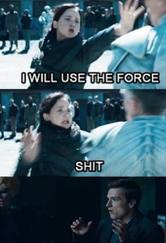 Hunger Games shocked Peeta meme. Peeta's reaction to Katniss trying to use the Force