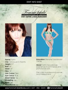 Book our fabulous female models in Toronto or Montreal to brighten up your event! Femme Fatale Media roster consists of beautiful and energetic models who are able to present your brand or event in a one-of-a-kind way! Promotional Model, Professional Dancers, Female Models, Montreal, Vancouver, Toronto, Hair Color, Artist, Cards