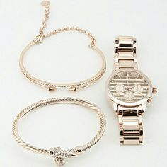 "Watch Set with Bracelets * Watch Set with Bracelets  * 1.2 x 1.2"" approx. *COLOR ROSE GOLD Accessories Watches"