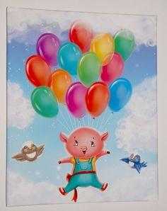 Kids canvas wall art Pig Flying with Balloons by PinwheelCanvasArt