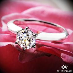 This beautiful 6 prong Solitaire Engagement Ring allows you to admire your diamond from all sides. The delicate rounded prongs gently support your chosen diamond and allow for superb light return and sparkle, it's the perfect ring to ensure that your diamond is always the center of attention.