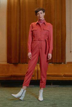 KOZPONT - jumpsuit with VENGRIJA - short sleeve jersey turtleneck top with badge detail Turtleneck Top, Badge, Women Wear, Jumpsuit, Turtle Neck, Contemporary, Detail, Sleeves, Photography