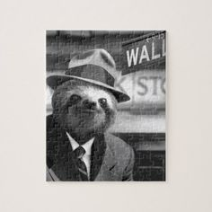 Sloth in Wall Street Jigsaw Puzzle - black gifts unique cool diy customize personalize