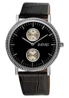 Price:$47.14 #watches August Steiner AS8048BK, This Akribos XXIV ultra slim men's watch is elegant and timeless. This watch features a matt dial with subdials displaying the GMT and 60 seconds. The genuine leather band secures with an engraved tang buckle.