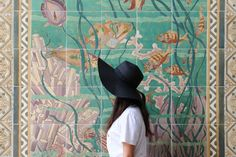 STYLE SMORGASBORD // Summer Vacation Outfit - Eugenia Kim 'Do Not Disturb' Inspired hat from Valleygirl, Petit Bateau White Tee, Marcs Summer Tweed Skirt, bright, pretty mosaic wall travel traveler fashion summer blogger style casual honolulu waikiki downtown hawaii