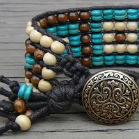 """Triple Row Beaded Wrap Bracelet Tutorial """"You can use wax cotton cord. I have seen my fans on my Facebook page use different kinds of cordi..."""