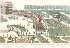 Cahier 8, Plate 11. Vue de l'Aile gauche et de la moitié du Corps de Logis du chateau de Christian Erlang et une partie de ses jardins. Jardins Anglo-Chinois à la Mode. George Louis Le Rouge.