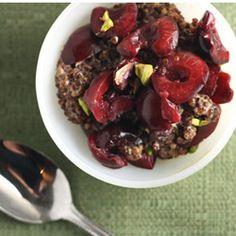 Vanilla Rooibos Quinoa Pudding with Cherry & Pistachio