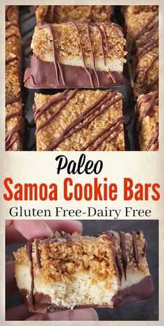 Samoa Bars Paleo Samoa Cookie Bars- a healthy version of the popular girl scout cookie. Gluten free, dairy free, and so delicious!Paleo Samoa Cookie Bars- a healthy version of the popular girl scout cookie. Gluten free, dairy free, and so delicious! Paleo Dessert, Vegan Desserts, Healthy Desserts, Dessert Recipes, Cookie Recipes, Dairy Free Desserts, Heathy Treats, Desserts Diy, Healthy Breakfasts
