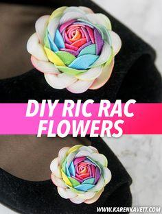 DIY Rainbow Ric Rac Flowers   Karen Kavett