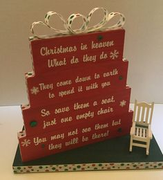 Christmas in Heaven, save them a seat, one empty chair, Christmas Red with green base, polka dot ribbon and rhinestone accents with white rocking chair. ** Quickly view this special product, click the image : Handmade Gifts