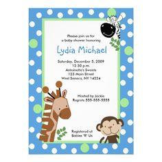 JUNGLE ADVENTURE BLUE Safari Baby Shower Personalized Invites