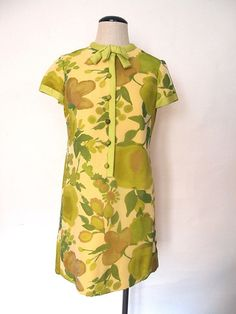 1960s Green Floral Short Sleeve Dress by French Poodle - Cheeky Vintage