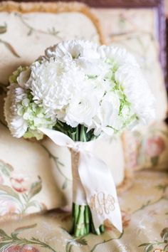 White bouquet with monogrammed ribbon- love!