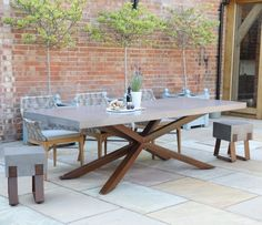 Shop online for the Mira Polished Concrete Bench from Jo Alexander. Shop online or call our friendly office today on 01954 267 Concrete Outdoor Dining Table, Concrete Stool, Concrete Furniture, Concrete Garden, Patio Table, Outdoor Tables, Garden Furniture, Outdoor Furniture, Furniture Ideas
