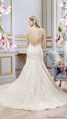 Moonlight collection spring 2016 wedding dresses beautiful mermaid gown trumpet fit flare lace strap v neckline embroidered open key hole back  j6402