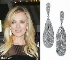 Actress and cast member Bar Paly attended the Los Angeles Premiere of Non-Stop at Regency Village Theatre on Monday, February 24th  in Westwood, California wearing a black dress and Le Vian® Vanilla Diamonds® Drop Earrings.