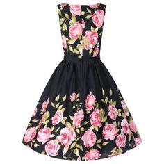 Audrey Pink Rose Border Dress | Vintage Style Dresses - Lindy Bop