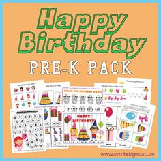 Happy Birthday Pre K Pack - Approx 30 pages of Birthday fun and learning from Pre-K and K aged kids!