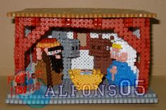 3D Nativity scene with crib perler bead sprite by Alfons05