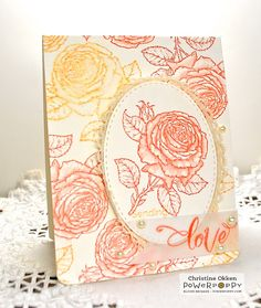 handmade card from Power Poppy - The Blog: Repeat After Me ... roses ... tutorial on how to achieve this toile effect ... pretty easy ...