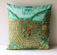 Cushion cover pillow map pillow, AMSTERDAM map, cushions organic cotton, pillow 16x16, decorative pillow.