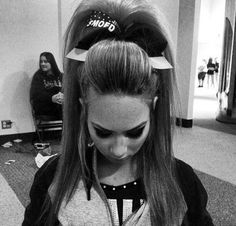 gabby butler's cheer hair and she is so pretty and cute Ponytail Updo, Ponytail Hairstyles, Cheer Hair Poof, Cheer Makeup, Cheer Athletics, Front Hair Styles, Dance Hairstyles, High Ponytails, Cheer Dance