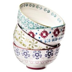 $24.99 | Abigail Floral Stoneware Cereal Bowls | Add a little more color to your live with these sweet bowls!  #sponsored #boho