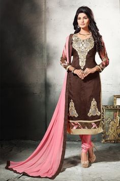 THANKAR BROWN AND LIGHT PINK EMBROIDERED COTTON DRESS MATEIRIAL   dressmaterial  clothing  shopping  dresses 7252e7ccb8f45