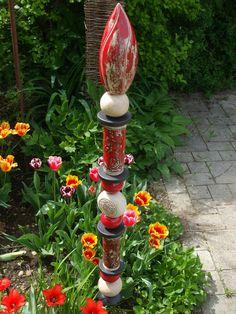 Keramik Stele,Dekoration,Beetstecker,Handarbeit,Garten,Rosenkugel,Säule,Stab de.picclick.com