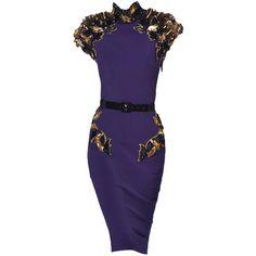 JulienMacdonald-editedbyelfemme ❤ liked on Polyvore featuring dresses, purple, short dresses, purple dresses, blue mini dress, julien macdonald, blue dress and short blue dresses