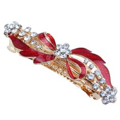 Rhinestone Detail Red Bowknot Metal Hair Clip Barrette Gold Tone ** Be sure to check out this awesome product.
