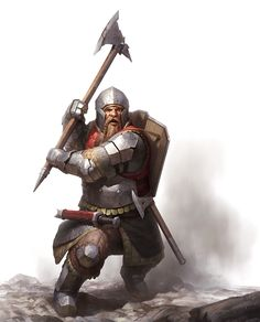 Dwarf Warfare Cover Art by wraithdt dwarven battleaxe helm helmet sword axe shield platemail armor clothes clothing fashion player character npc | Create your own roleplaying game material w/ RPG Bard: www.rpgbard.com | Writing inspiration for Dungeons and Dragons DND D&D Pathfinder PFRPG Warhammer 40k Star Wars Shadowrun Call of Cthulhu Lord of the Rings LoTR + d20 fantasy science fiction scifi horror design | Not Trusty Sword art: click artwork for source