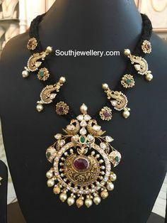 Different Style Black Dori Necklaces - Jewellery Designs Pendant Jewelry, Gold Jewelry, Beaded Jewelry, Thread Jewellery, Diamond Jewellery, Antique Jewelry, Fancy Jewellery, Gold Necklaces, Latest Jewellery