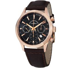 Since 1922, the watchmakers at ZENO have been manufacturing timepieces with a prominent personality, distinctive character and timeless beauty. This timepiece features a rose goldtone case, black dial, chronograph functions and a tachymeter scale.
