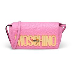 Moschino Small Leather Bag ($1,195) ❤ liked on Polyvore featuring bags, handbags, shoulder bags, pink, leather shoulder handbags, pink leather purse, leather handbags, moschino handbag and genuine leather handbags